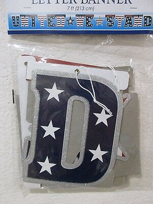 Americana 4th of July Patriotic UNITED WE STAND Banner Decoration Decor 7ft