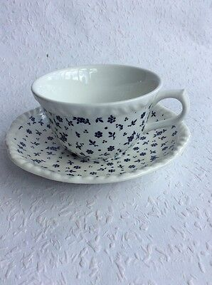 Adams Ironstone Cup and Saucer, Sprig Pattern, White with Blue