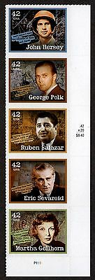 United States, Scott # 4248-4252, Strip Of 5 Stamps Of American Journalists, Mnh