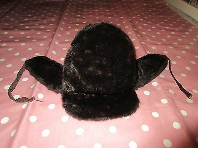 Vintage retro clothing Finnish fur style hat with fold down ear flaps 50cm