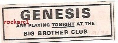 GENESIS UK TIMELINE Advert -  at Big Brother Greenford July-1972 3x1 inches