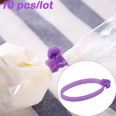 10 pcs Cream Silicone Tied Up Fixed Ring Rubber Band Piping Bag Sealer