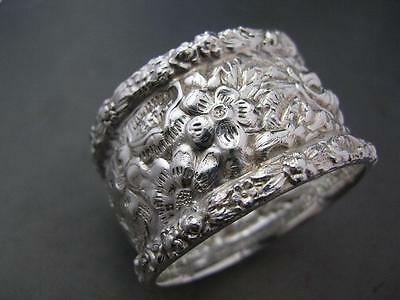 Antique Sterling STIEFF Napkin Ring STIEFF ROSE floral repousse ornate fancy