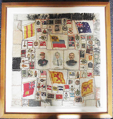 STUNNING large MONTAGE of WWI Silk Embroidered Pictures/cigarette cards