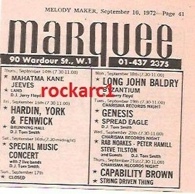 GENESIS UK TIMELINE Advert - Marquee Weds 20-Sept-1972 4x3 inches