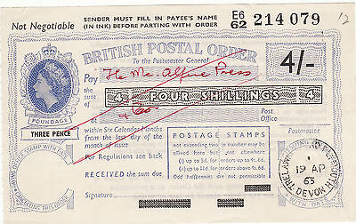British Postal Order 4 Shillings 1963