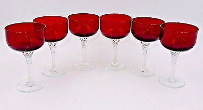 "(x6) VINTAGE COLONY SATURN RUBY RED CRYSTAL 5-3/8"" SHERBET GLASSES"