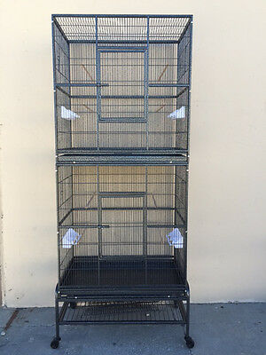 LARGE Tall Double Stackable Bird Cockatiel Sugar Glider Wrought Iron Cage 385
