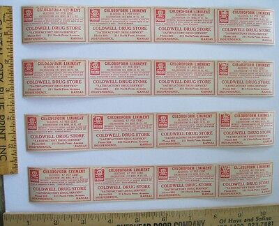 Lot of 16 Antique Chloroform POISON Bottle Labels, Store Stock, KANSAS Druggist