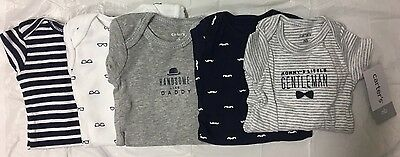 NEW Lot of 5 CARTERS Newborn Baby Boy Short Sleeve One-piece