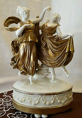 Antique Gold Gilt Porcelain Figurine Two Roman Goddess Dancing - German- N Crown