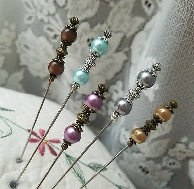 Antique Vintage Inspired Victorian Hat Pins Pearl Beads Clutch 5 Piece BEAUTIFUL