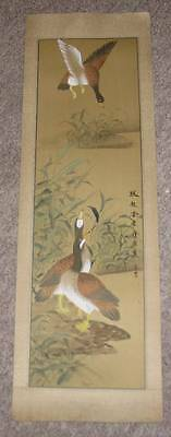 Chinese Scroll Painting or Print Ducks Signed 50's