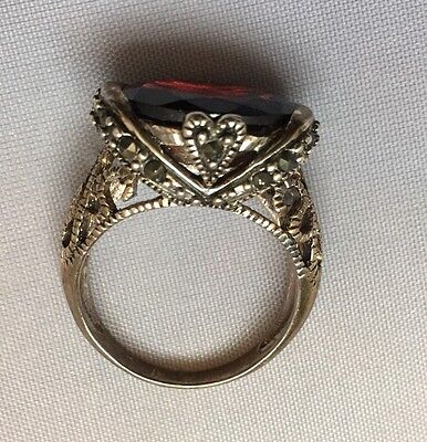 Beautiful Vintage Cut Out Silver Marcasite Inset With Large Garnet Ring
