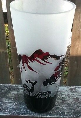 Vtg~Gajj~HUGE Rustic Frosted Vase~Hunting/Deer & Mountains Cameo Theme.
