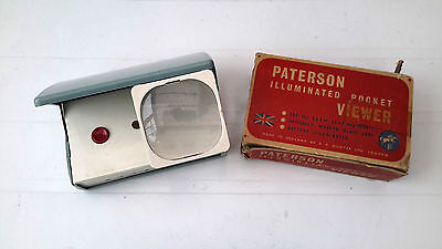Vintage Paterson Illuminated Pocket Slide Viewer for 2 x 2 slides boxed working
