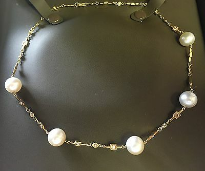 Lady's Gold Diamond And Pearl Necklace 18K Creamy White South Sea Pearls Bezel