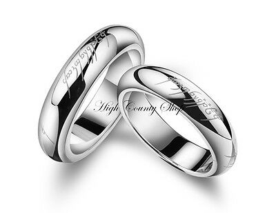 316L Titanium Steel Lord of the Ring Design Laser Engraving Ring Size 8