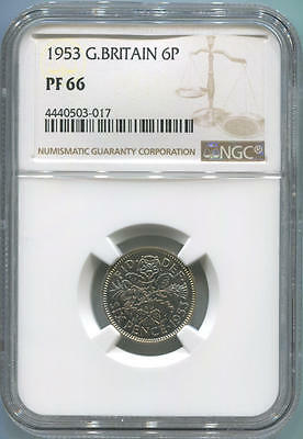 1953 Great Britain Proof 6 Pence. NGC PF66. High Grade Proof!