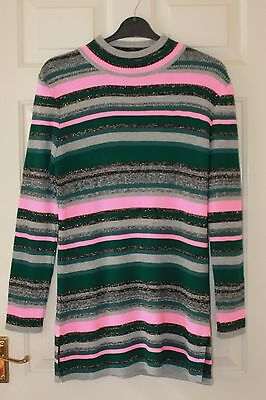 BNWT ASOS Maternity Green Pink Grey Striped Glitter Knitted Tunic Jumper Size 12