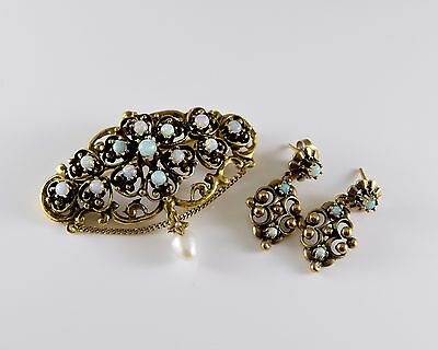 14K Gold and Opal Pin and Earring Set