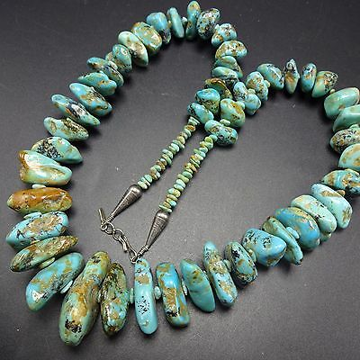Signed Vintage NAVAJO Sterling Silver & Heavy Polished Nugget TURQUOISE NECKLACE