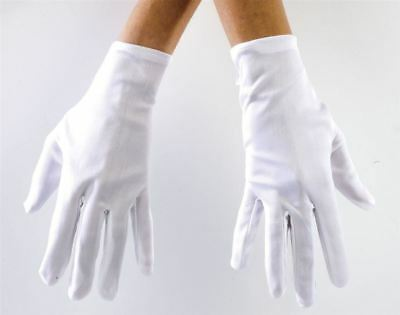 White Wrist Length Polyester Costume Gloves Adult & Teen Size Age 15+ USA Seller