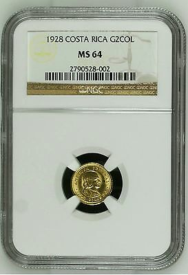 Costa Rica 2 Colones 1928 Gold Coin Ngc Ms-64
