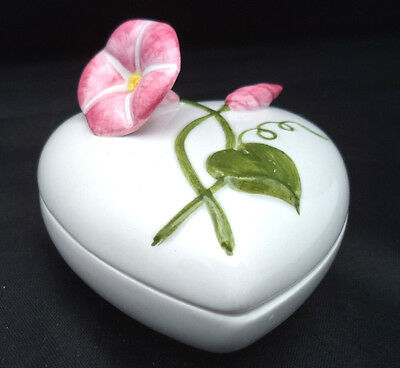 "Fitz & Floyd Heart Trinket Box Sculptured Pink MORNING GLORY Green Leaves 3"" A++"