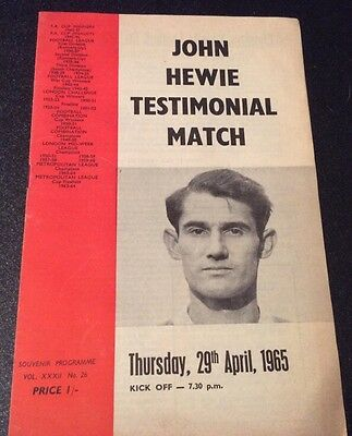 John Howie Testimonial Football Match Charlton v Chelsea Thurs 29th April 1965