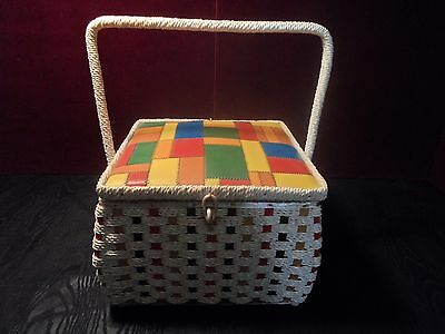 Vintage Retro Wicker Sewing Basket 1960's 1970's with thread lot