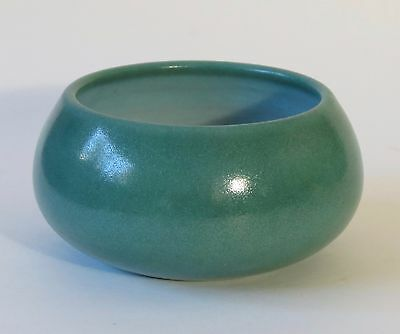 Marblehead Pottery green bowl white interior