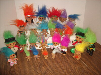 Lot of 26 TROLL DOLLS Different Shapes and Sizes