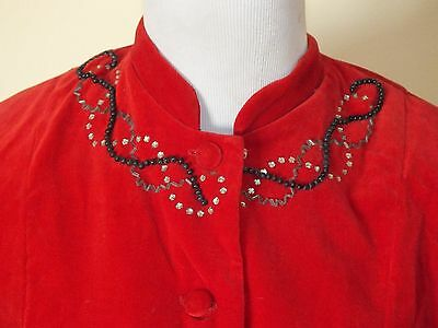 MATERNITY Vtg 50s Velvet Outfit Red and Black Velvet RARE L / XL