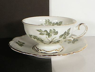 Mitterteich Green Leaves Footed Cup and Saucer Set (s) LOT OF 4 Goldtone Rims