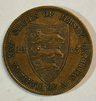 1913 STATES OF JERSEY - 1/12 OF A SHILLING COIN lot lt013