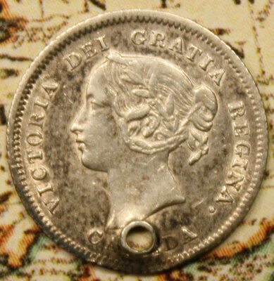 1900 CANADA SILVER 5 CENT COIN - lot lt063 - HIGH GRADE - HOLED
