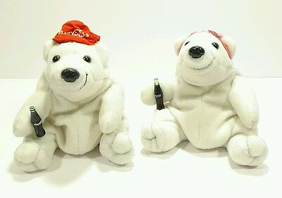 "Mr. & Mrs. Coca Cola 6"" Plush Bean Bag Plush Toy Bear Set Lot Boy Girl His Hers"