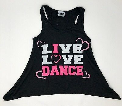 Live Love Dance Black Tank Top Shirt For Dance By Trendy Trends Youth Size M