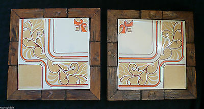 Set of 2 Vintage Dal-Tile Trivets Carved Wood Framed Ceramic Art Tile Mexico