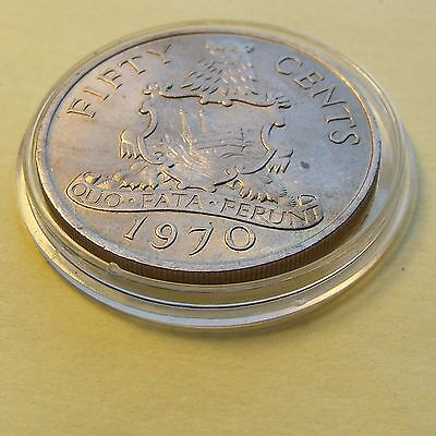 1970 About Uncirculated Bermuda Elizabeth,  50 Cents w Holder. Nice coin.