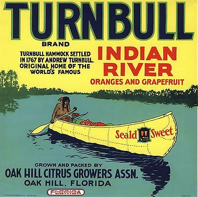 Crate Label Vintage Florida Indian Canoe Oak Hill 1940S Turnbull Scarce Original
