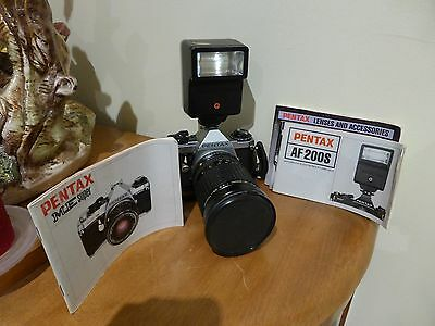 Pentax ME Super with Pentax 35-105 mm f 3.5 Lens and Flash