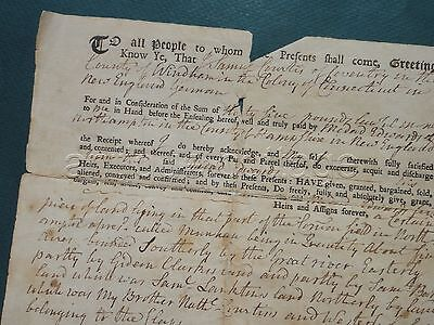1762 antique COLONIAL DEED northampton ma Sam CURTIS coventry ct Medad EDWARDS