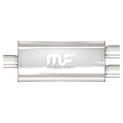 """MagnaFlow 12198 Muffler 3"""" Inlet/Dual 2.50"""" Outlet Stainless Steel"""