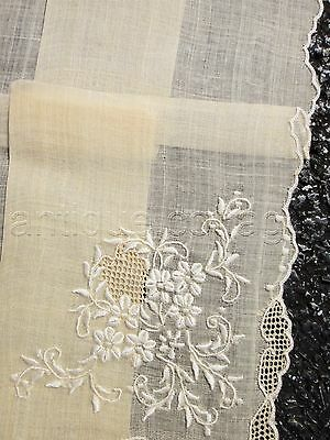 antique unused ECRU sheer homespun? HANKIE LACE EMBROIDERY floral ornate