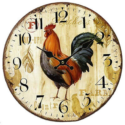 Shabby Chic Animals&flowers Style 34cm Wall Clock Bedroom Kitchen Quartz Farm