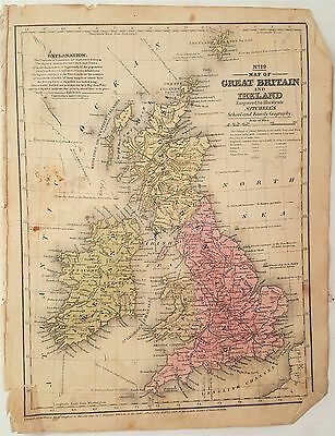1840 antique MAP of GREAT BRITAIN and IRELAND mitchell's atlas McCAA