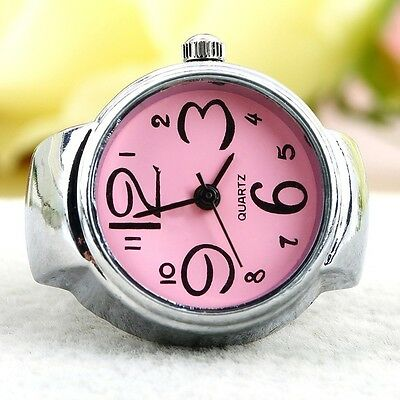 Round Creative Gift Stainless Steel Finger Ring Watch Elastic Quartz