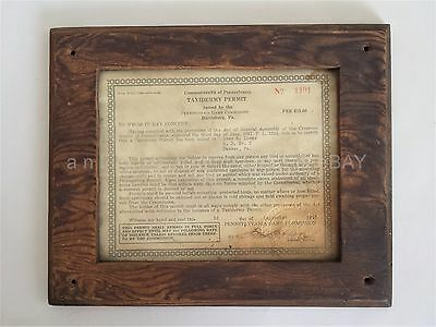 1943 antique TAXIDERMY PERMIT denver pa IVAN M. LOOSE pa game commission
